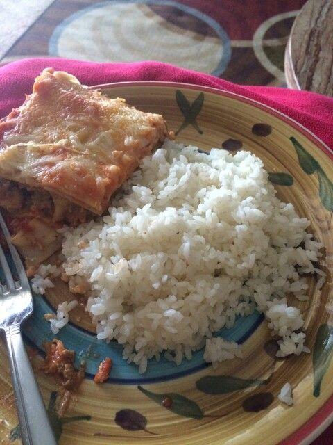 Lasagna con arroz blanco bien boricua comida - Comidas con arroz blanco ...
