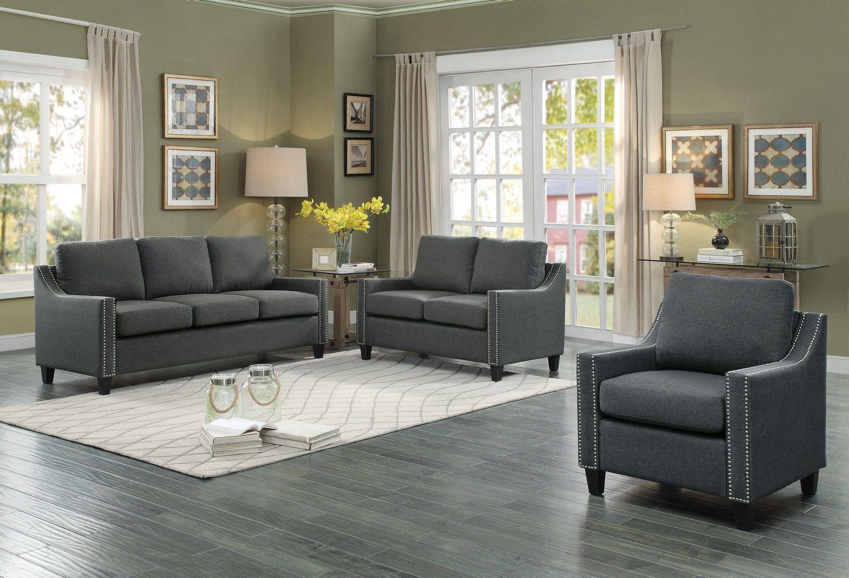 Pagosa traditional dark grey fabric wood nailhead living room set