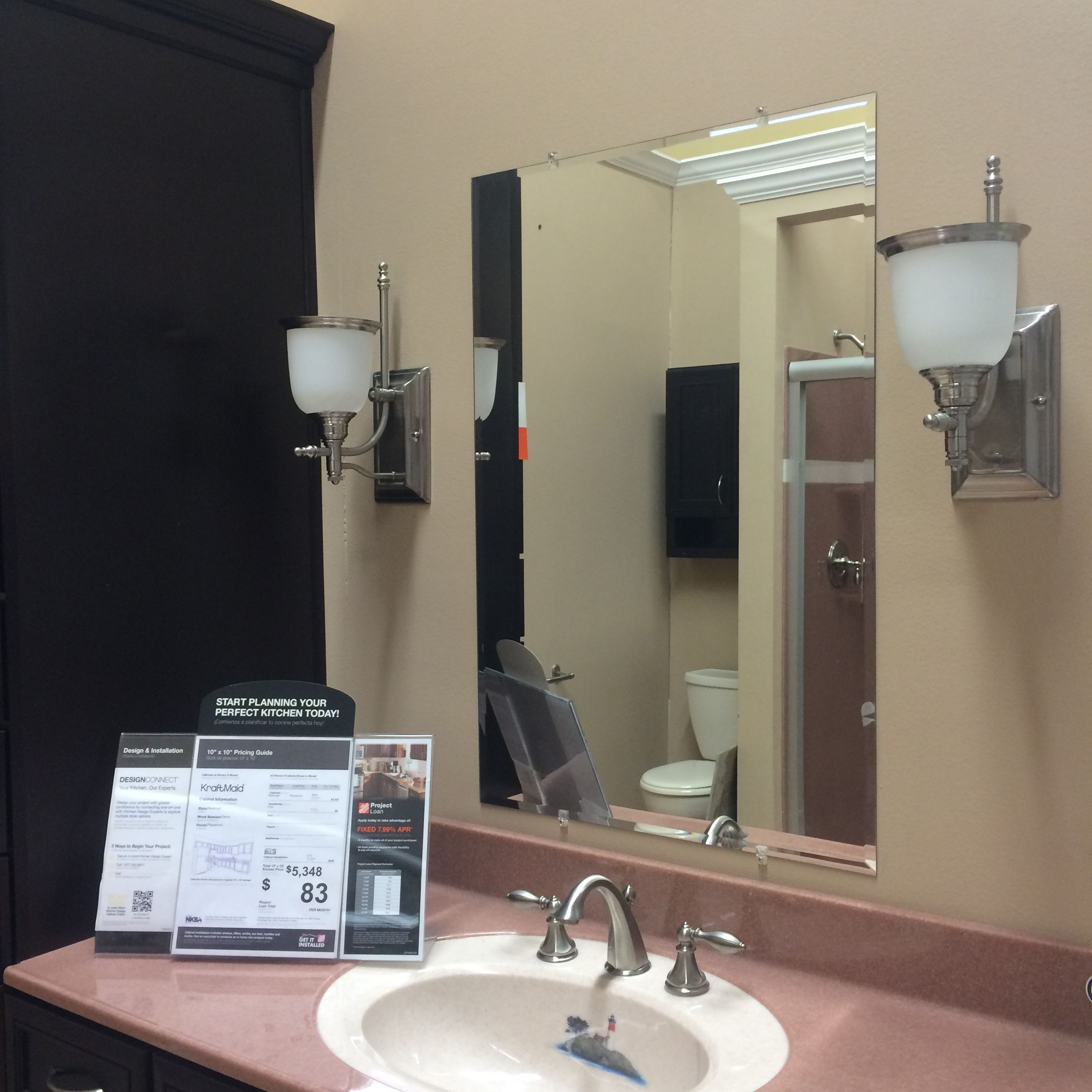 Bathroom lighting with mirror