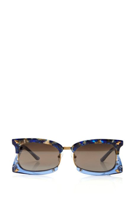 Rectangular Sunglasses With Claw Detail by Prabal Gurung Now Available on Moda Operandi