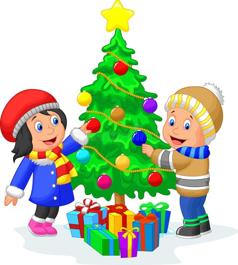 Christmas Tree Cartoon Christmas Tree Christmastree Happy Kids Cartoon Decorating A Christmas Tree With Balls Illustration Of Happy Ad Cartoo Di 2020 Ilustrator