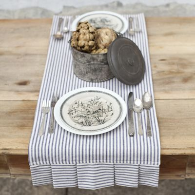 Double Placemat / Table Runner: So flipping adorable in blue ticking with box pleats. But there's no way my husband could keep these clean.  =(