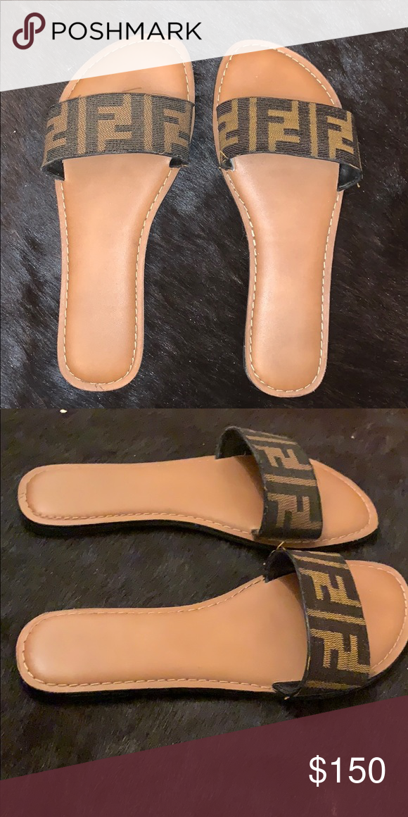 b208fb2b9 Fendi print slides Made from 100% authentic Fendi print Worn once or twice  Perfect condition Fendi Shoes Sandals