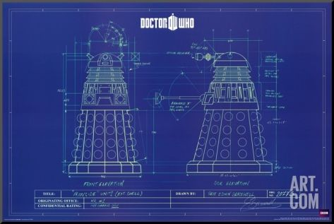 Doctor who dalek blue prints mounted print at art art for doctor who tv show poster dalek blueprint size x malvernweather Gallery