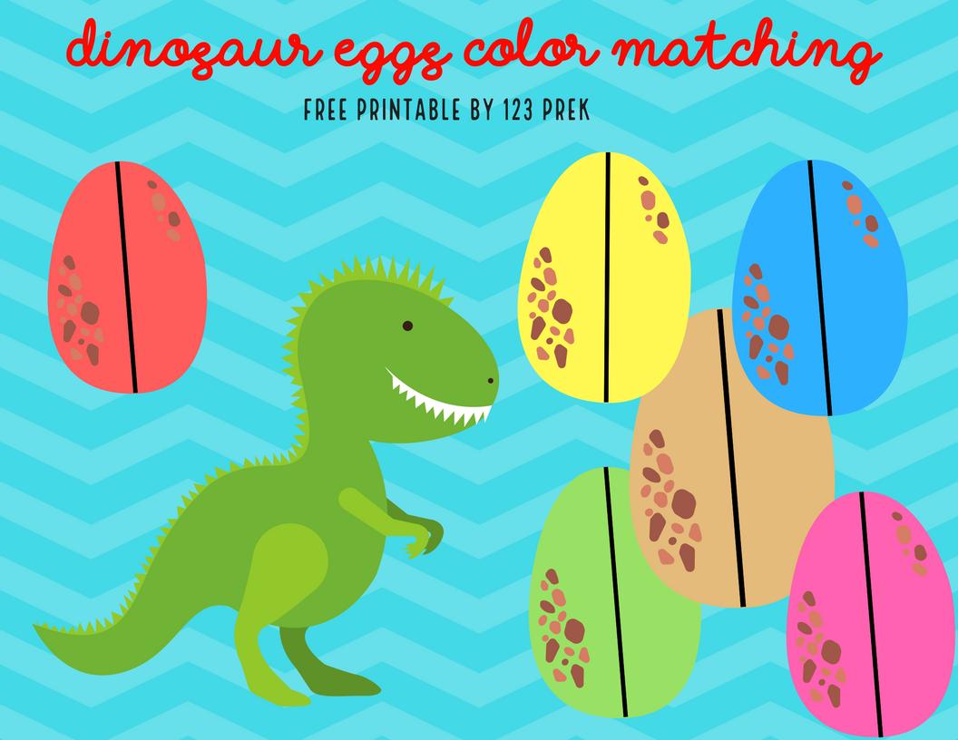 Free Printable Dinosaur Egg Color Match | Egg coloring, File folder ...