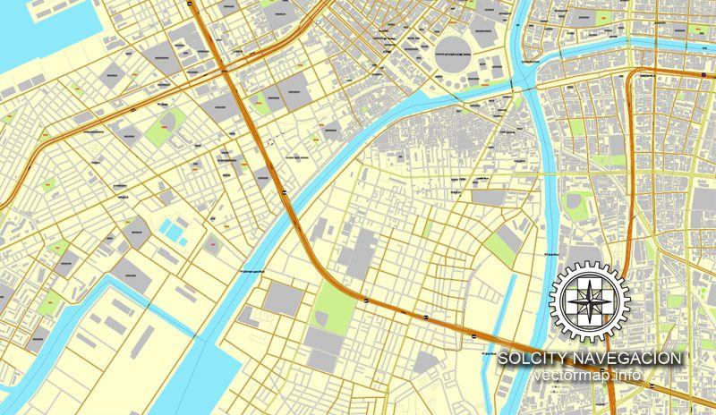 PDF Map Osaka Japan Printable Vector Street Parts City Plan - Japan map full