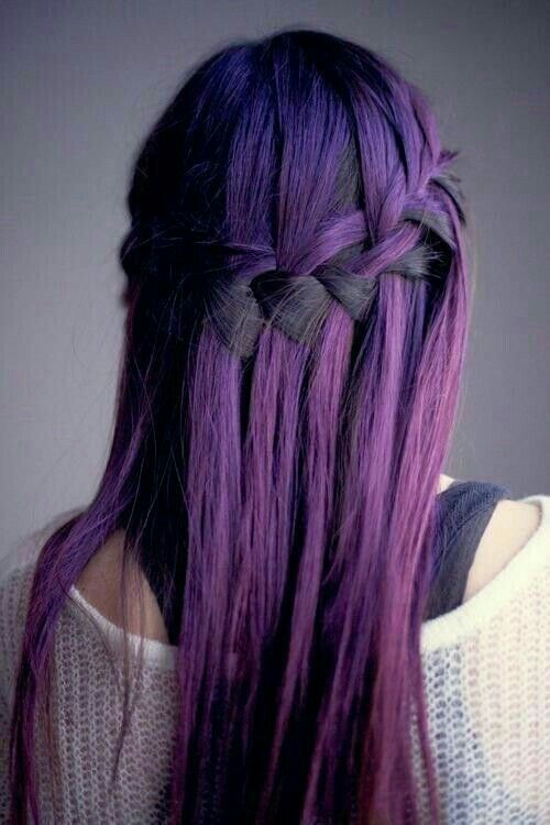 Dyed black and purple hair. I love how the braid brings out both colors!