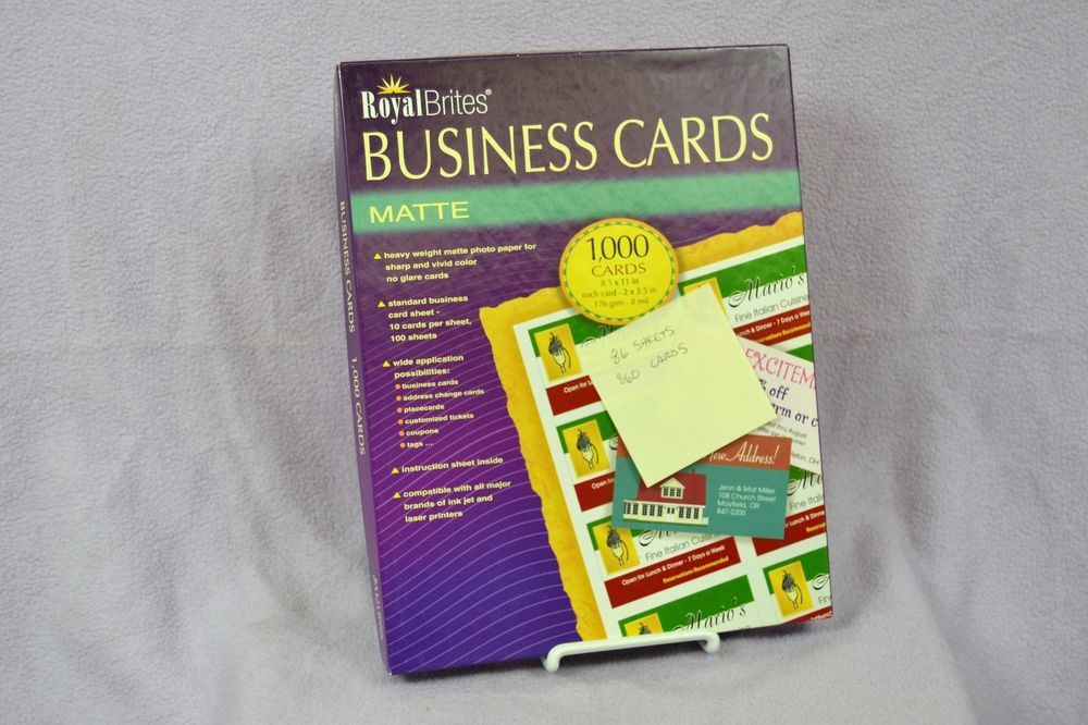 Royal Brites 28992 Inkjet Printable Business Cards Matte 1000 Open