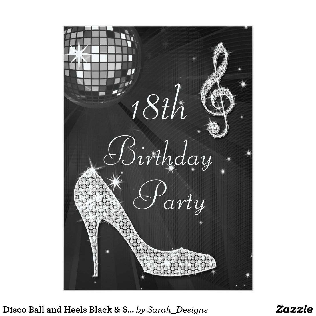 Disco Ball And Heels Black Silver 18th Birthday Card Personalized Elegant Custom Party Invitations For Teen Girls