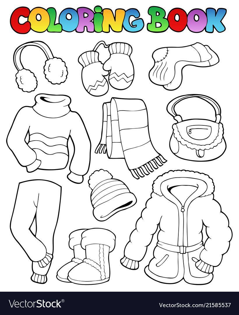Coloring Book Winter Apparel 1 Vector Image On Dibujos De