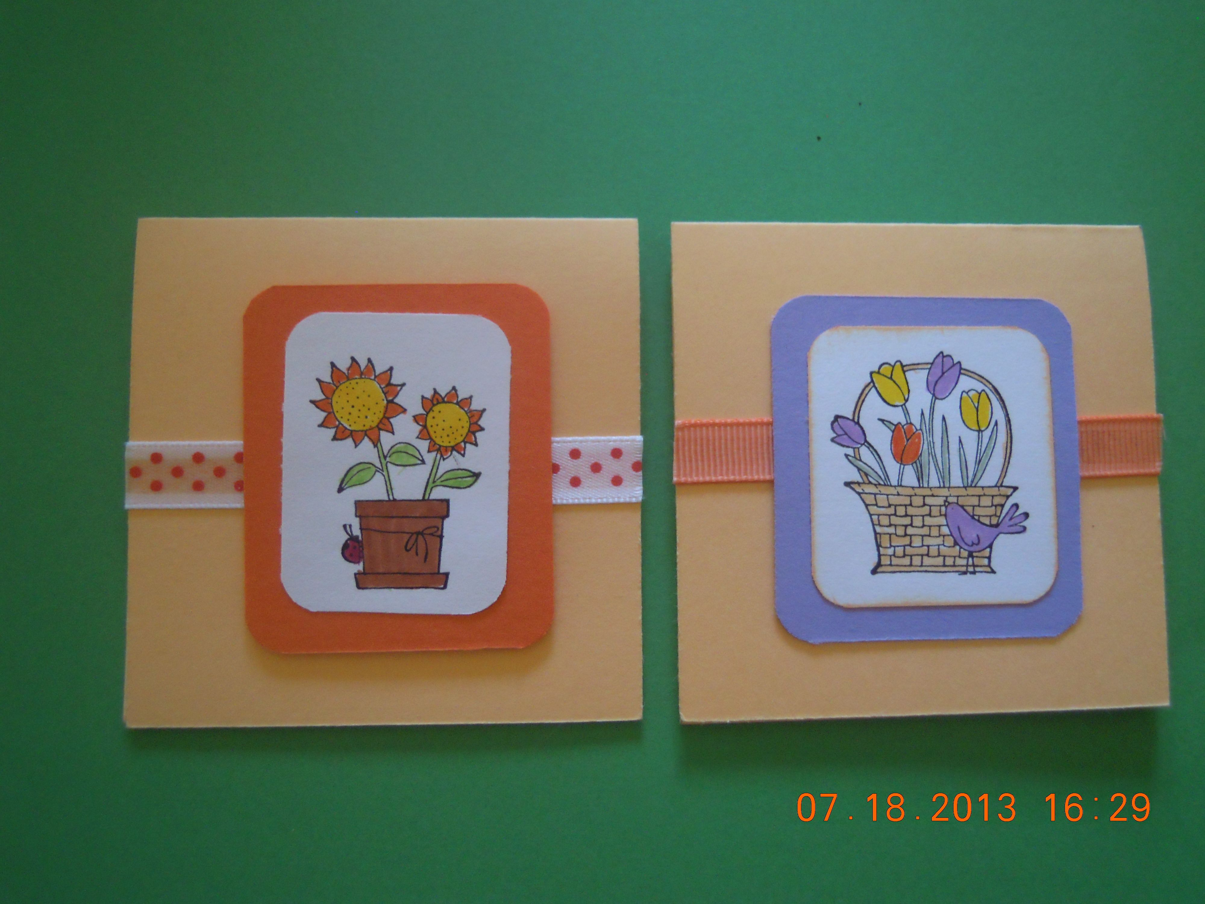 I made these 3 x 3 gift cards with paper and A Flower For Every Season stamp set from Stampin UP!