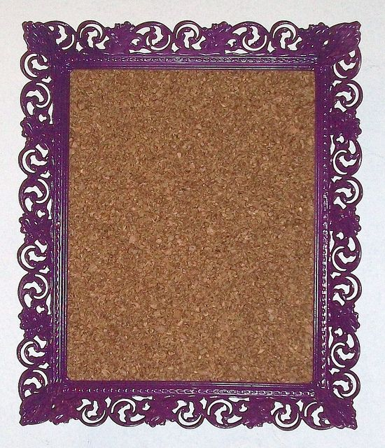 Snazzy cork board in a vintage metal frame by Michele Littlefield, via Flickr
