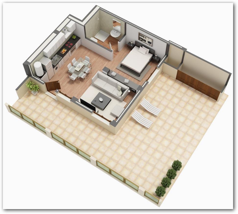 Plano de monoambiente en 3d planos 3 d monoambiente for Apartamentos pequenos planos