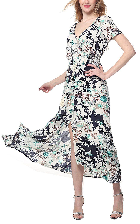 3b1c79e98a8b ARANEE Women's Button Up Split Floral Print Long Maxi Boho Bohemian Dress