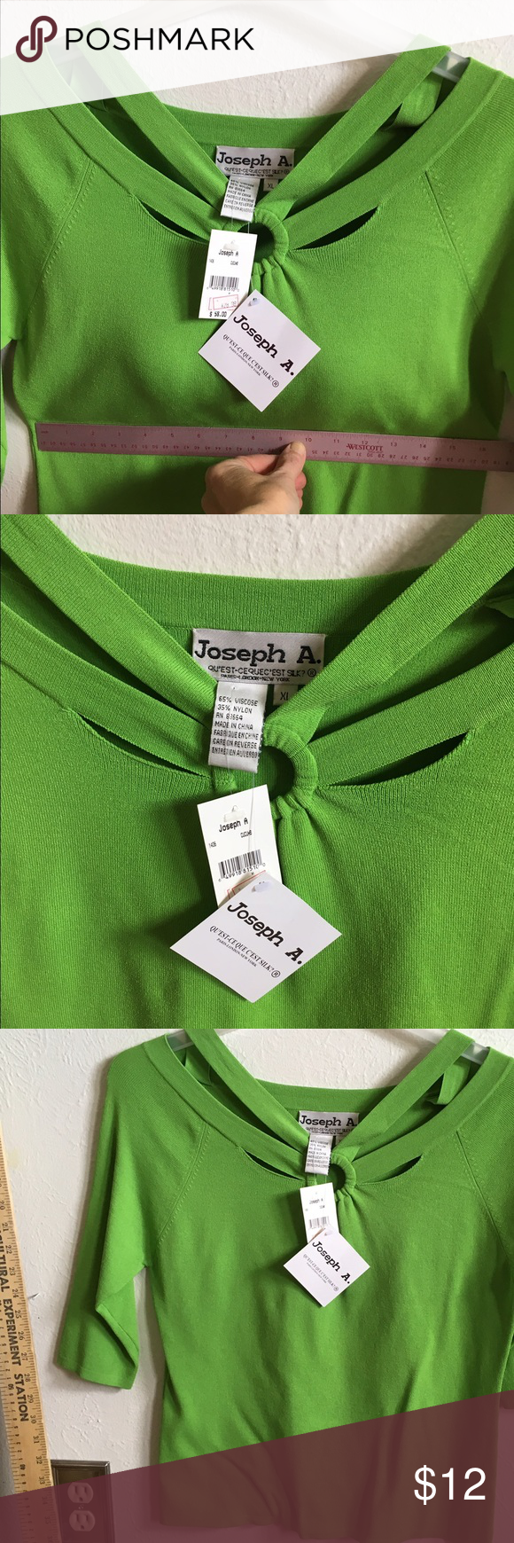 Strappy shoulders apple green sexy top See photos and have fun! Joseph Tops