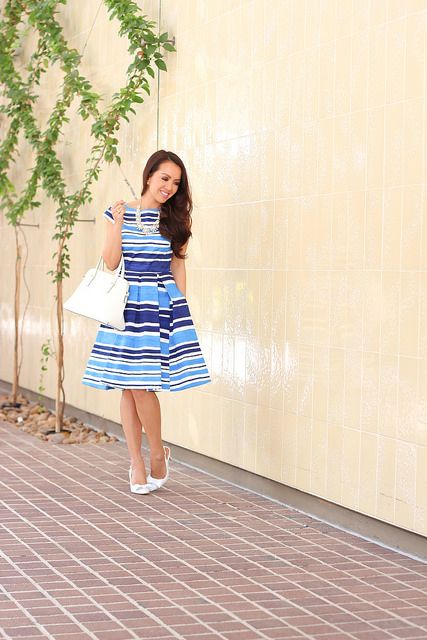 Kate Spade Mariella Dress and White Bow Pumps by Stylish Petite, via Flickr