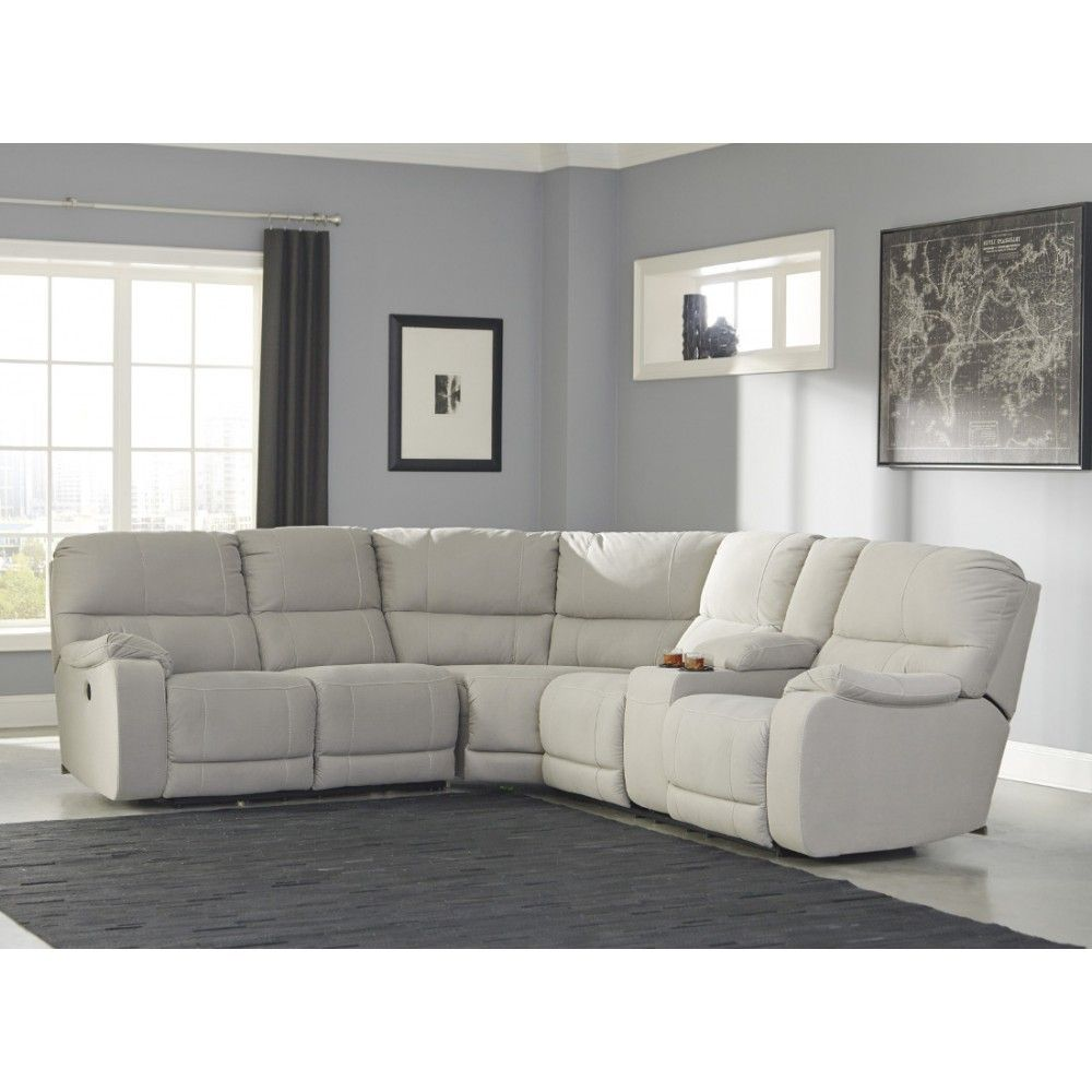 Ashley Furniture Bohannon Reclining Power Sectional In Putty