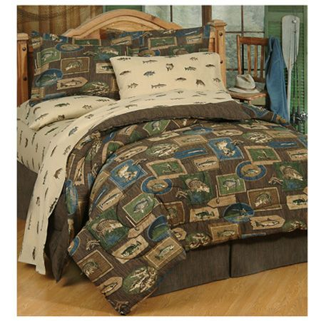 Delectably yours bedding reel fish bedding comforter set for Bed fishing for bass