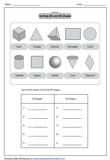 Sorting Out Shapes 3d Shapes Worksheets Shapes Worksheets Shape Sort