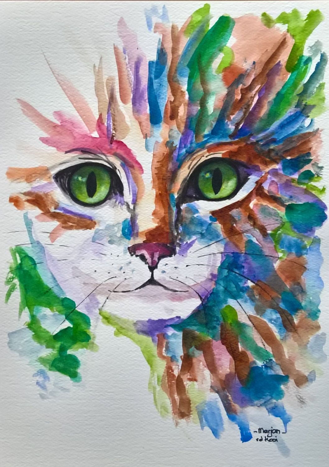 Cat Kitten Pet Original Painting By Marjans Art Pet Portrait Cat