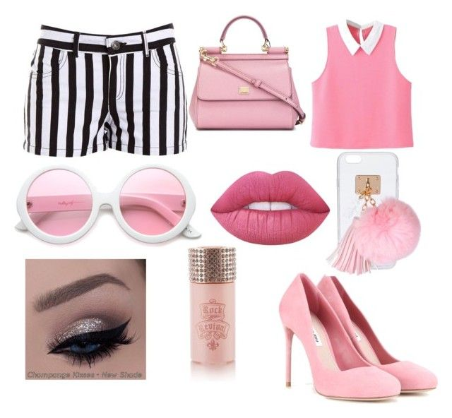 """Pink look"" by samanthajohnson-5 on Polyvore featuring BB Dakota, Miu Miu, Dolce&Gabbana, ZeroUV, Ashlyn'd, Lime Crime and Rock Revival"
