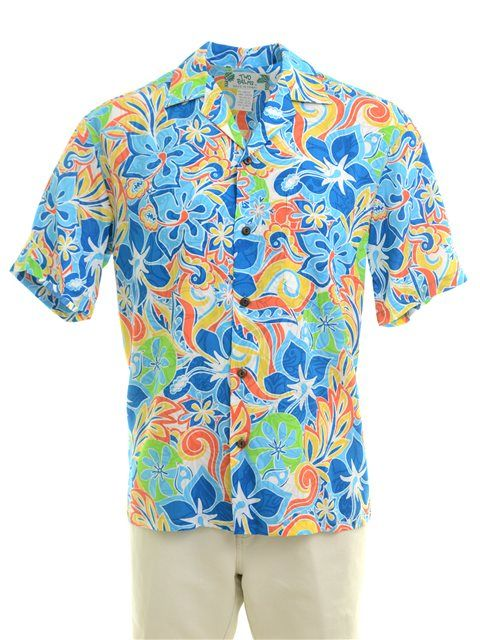 00eaf3ee07 Two Palms Tropical blooming Blue Rayon Men's Hawaiian Shirt ...