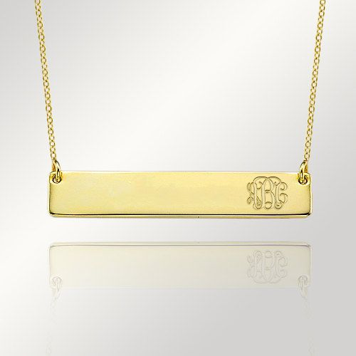 Monogram+Bar+Necklace+Gold+Initial+Necklace+Name+by+DesignJustForU,+$27.00