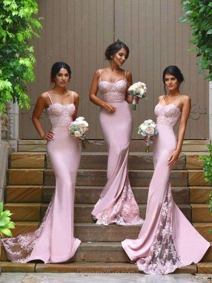 f5f05cc8c3d Pink Trumpet Mermaid Sweetheart Spaghetti Straps with Appliques Lace Sweep  Train Prom Dress