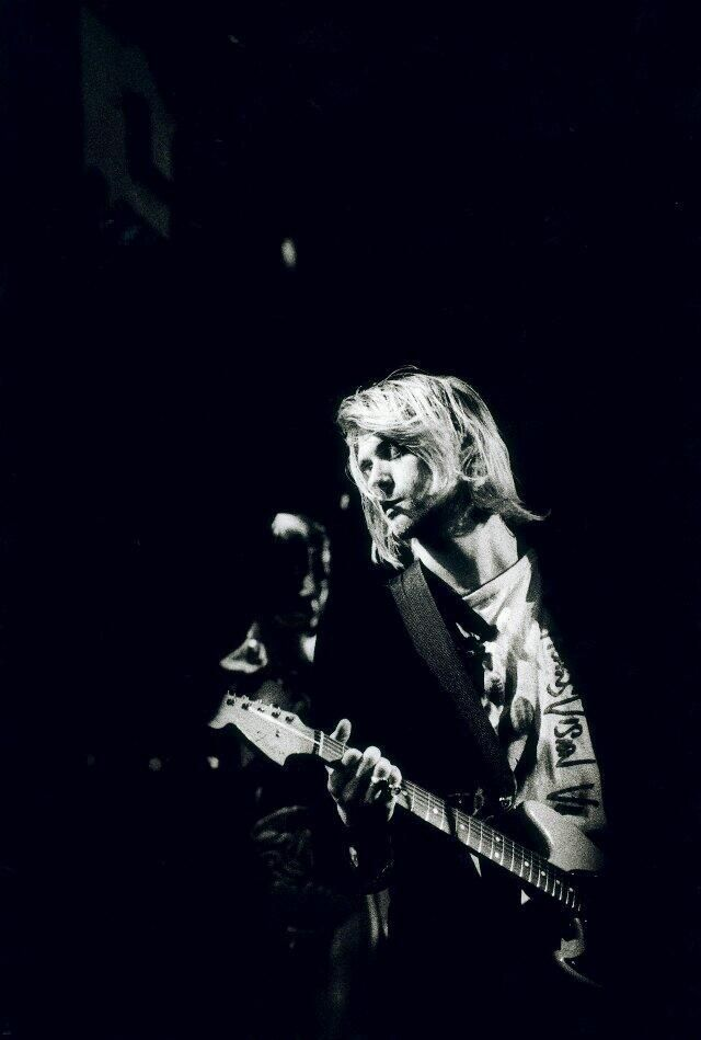 "Kurt Cobain live at MTV's ""Live and Loud"", 1993. Photographer: Steve Gullick. #WorldPhotographyDay."