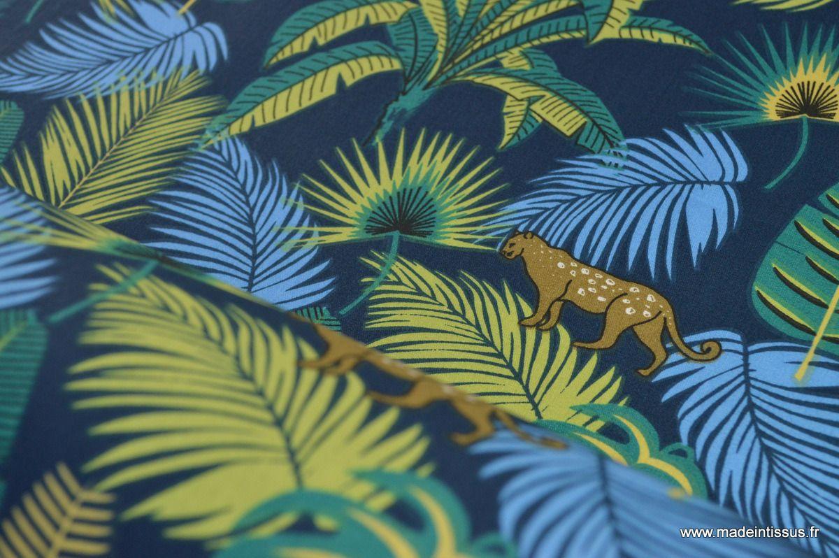 tissu popeline coton imprimé jungle et panthère x50cm : Tissus Habillement, Déco par madeintissus