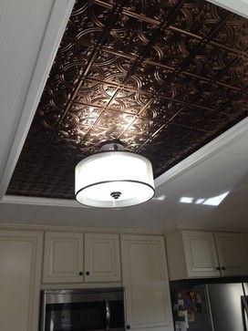 Tin Ceiling Accent A Way To Cover Up An Old Ugly Kitchen