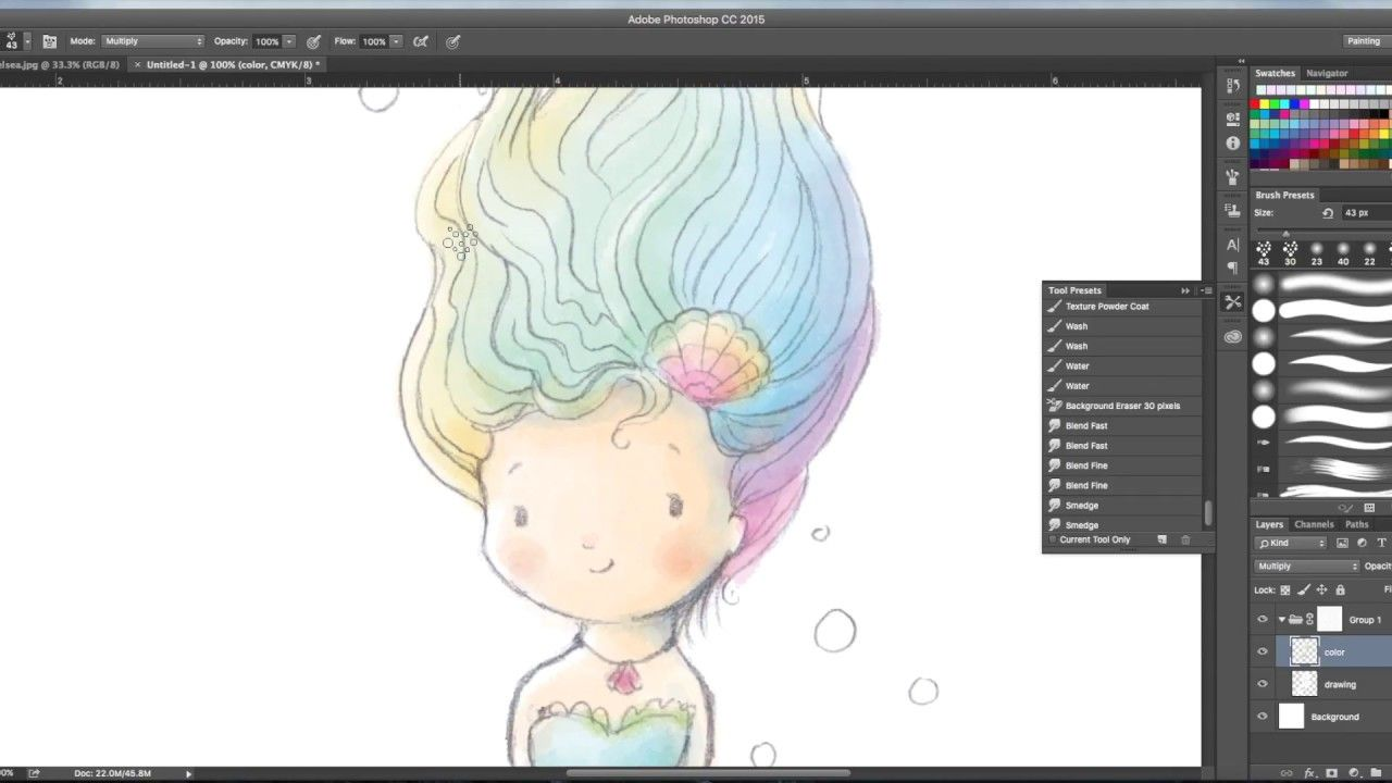 How To Watercolor Paint In Photoshop Mermaid Tutorial Youtube