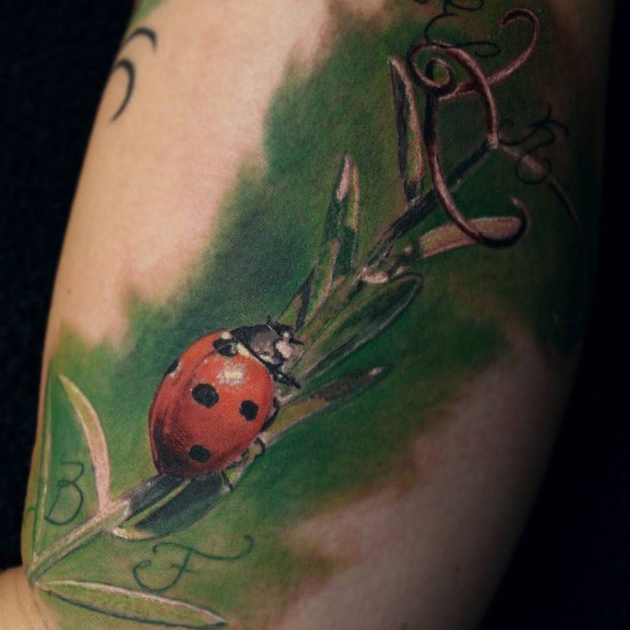 http://tattooideas247.com/coccinellidae-tattoo/ Realistic Ladybird Tattoo #Animal, #Beetle, #Bicep, #Coccinellidae, #Insect, #Ladybird, #MichelMeier, #Nature