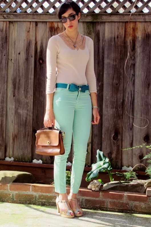 Pastel Mint Jeans Casual Outfits Mint Green Fashion