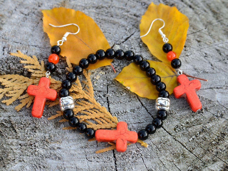 Komplet Zestaw Kolczyki I Bransoletka Krzyz Boho 7622246869 Oficjalne Archiwum Allegro Charm Bracelet Jewelry Beads