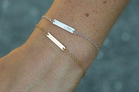 Small Name Bracelet Hand Stamped Friendship Bracelet Medical Bracelet Initial Bracelet Rose Gold Bar Charm Initial Bracelet Business Bracelet Gold Bracelet