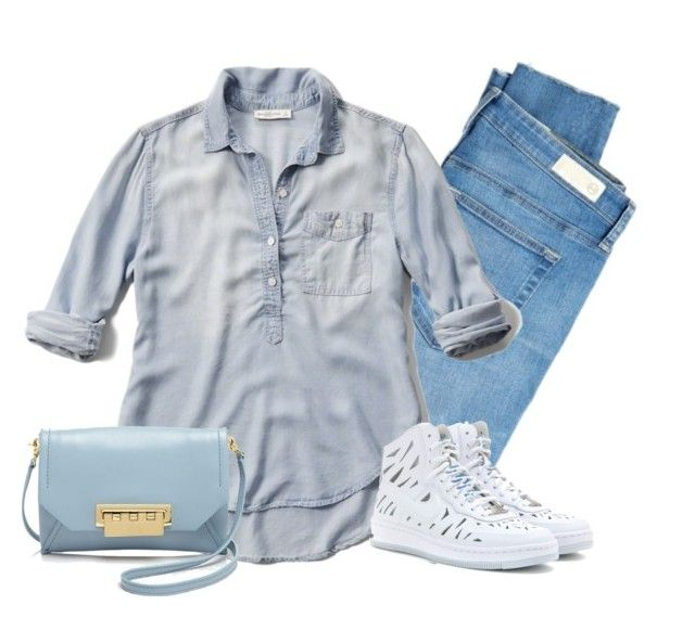 """Comfy"" by margaretkellogg ❤ liked on Polyvore featuring AG Adriano Goldschmied, Abercrombie & Fitch, NIKE, ZAC Zac Posen, denim, jeans, polyvorecommunity, polyvorecontest and denimshirts"
