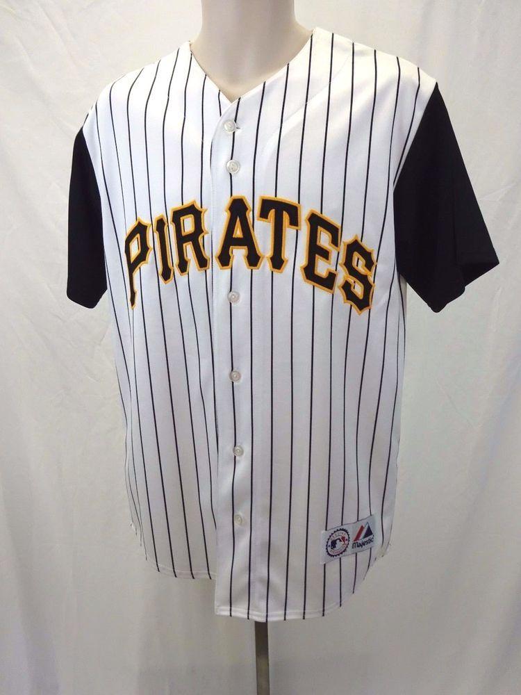 pittsburgh pirates striped baseball jersey majestic medium