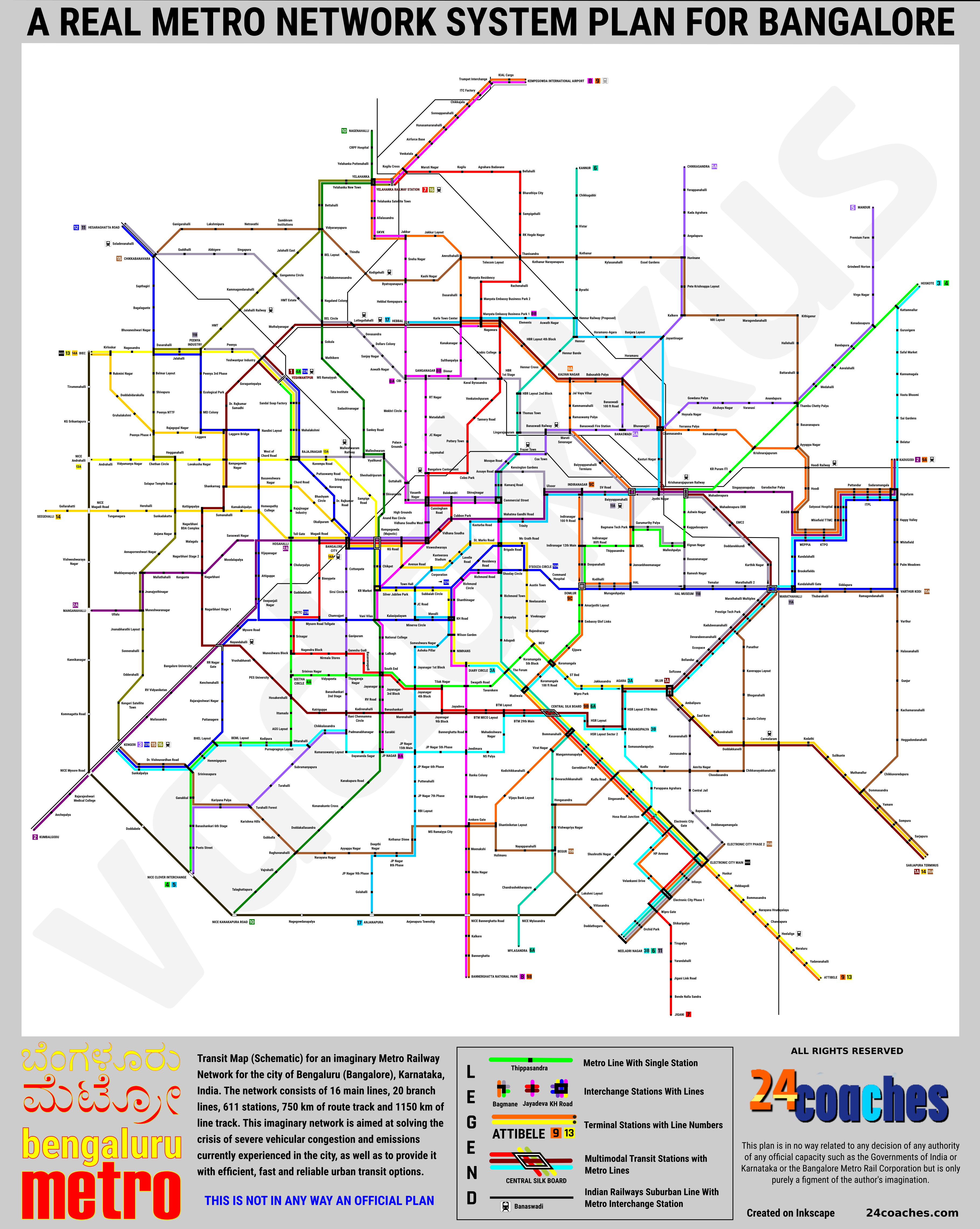 A network plan and (schematic) transit map for an imaginary