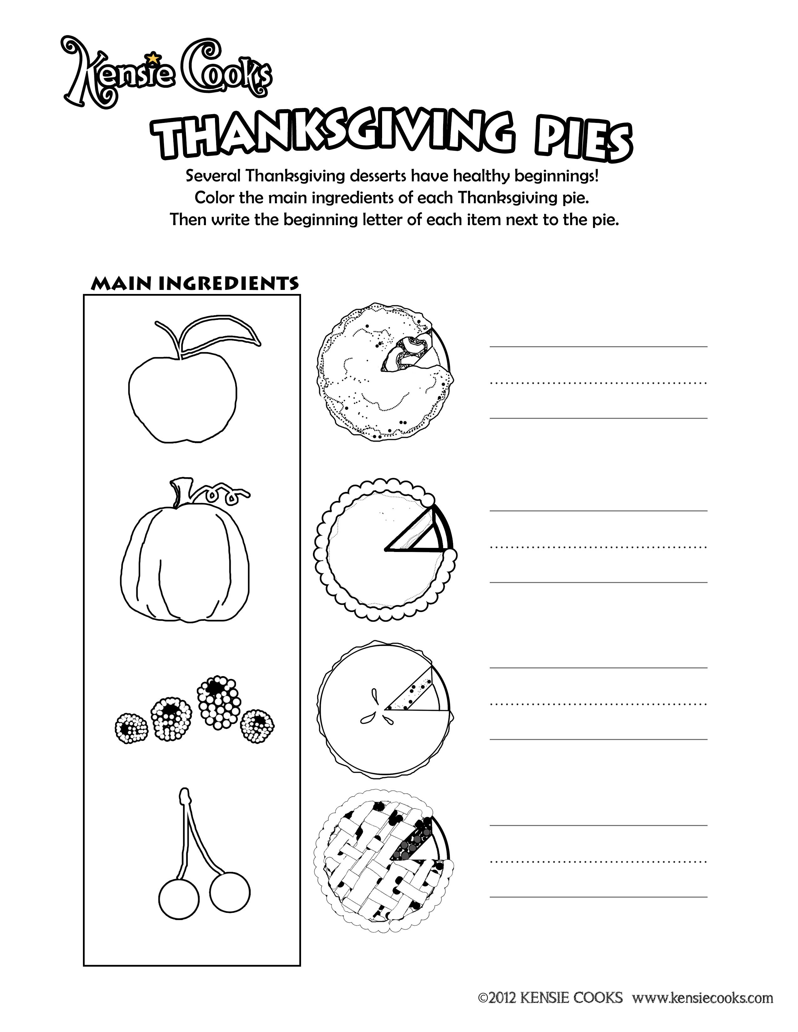 Kensie Cooks Thanksgiving Activity Sheet