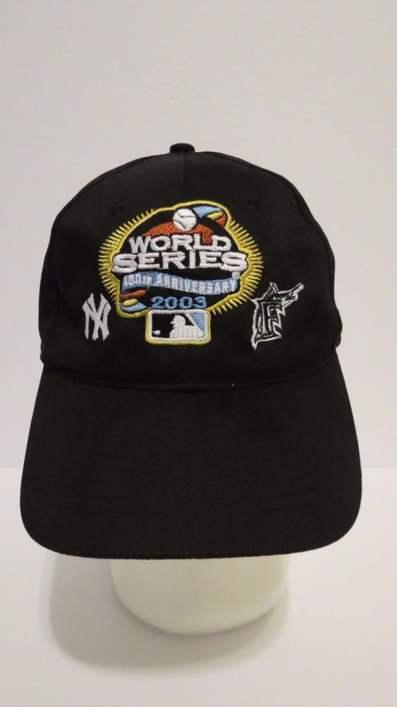 40260c00bea20 2003 WORLD SERIES 100th Anniv Cap Hat Marlins Yankees Black. Find this Pin  and more on Florida and Miami Marlins Vintage ...