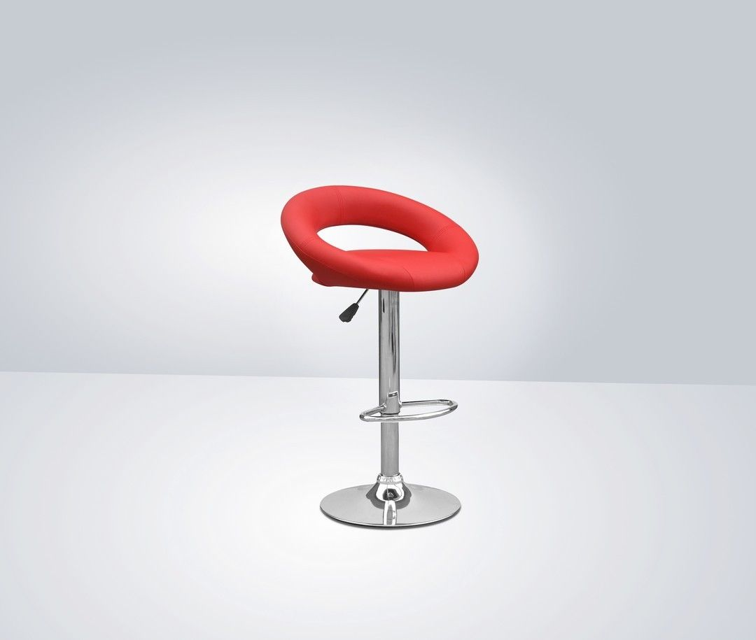 http://www.bonsoni.com/akor-leather-match-red-bar-stool-pair-by-sherman  This leather match - subtly futuristic bar stool offers contemporary charm. Chrome base with footrest and gas lift mechanism. Assembly required. Sold in boxes of two.   http://www.bonsoni.com/akor-leather-match-red-bar-stool-pair-by-sherman