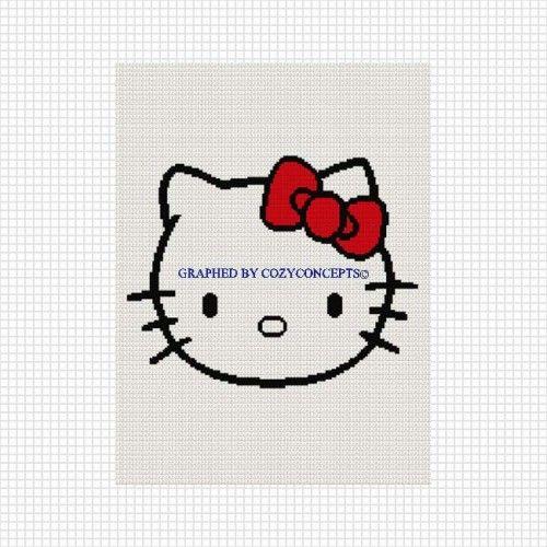 Hello kitty head afghan crochet pattern graph   Pinterest