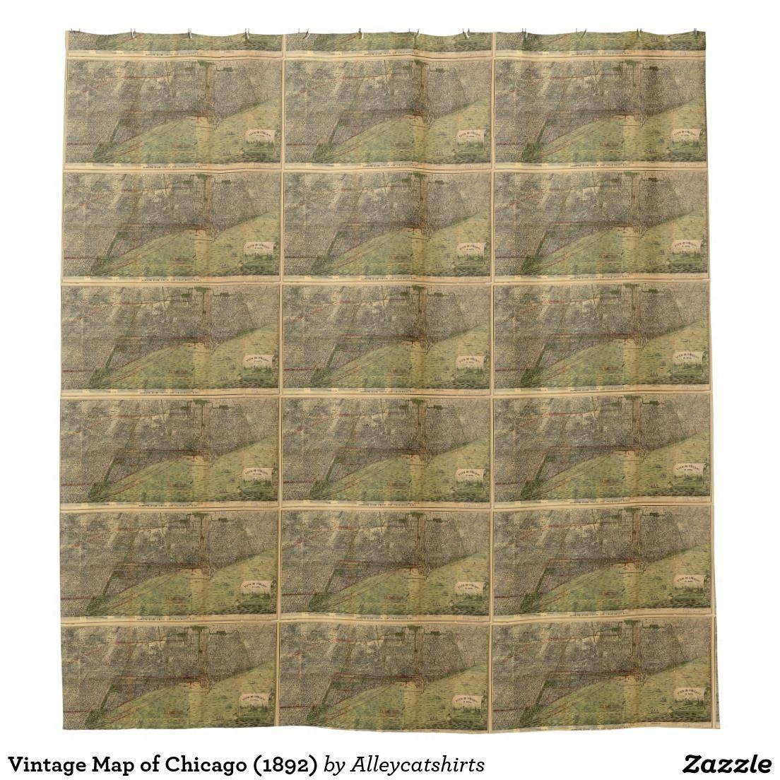 Vintage Map Of Chicago 1892 Shower Curtain Zazzle Com