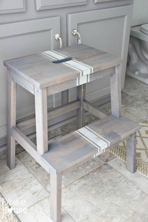 kitchen step work station driftwood grain sack stool makeover diy pinterest ikea bekvam hack idea home and crafts