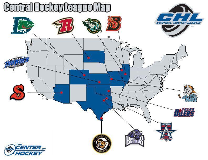 Central Hockey League Map Hockey Hockey Teams Teams