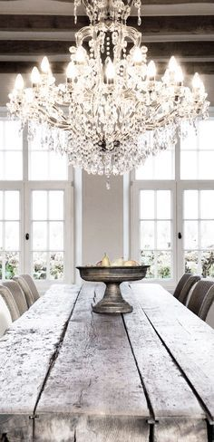 Rustic Elegance Is Farmhouse Table And Crystal Chandelier
