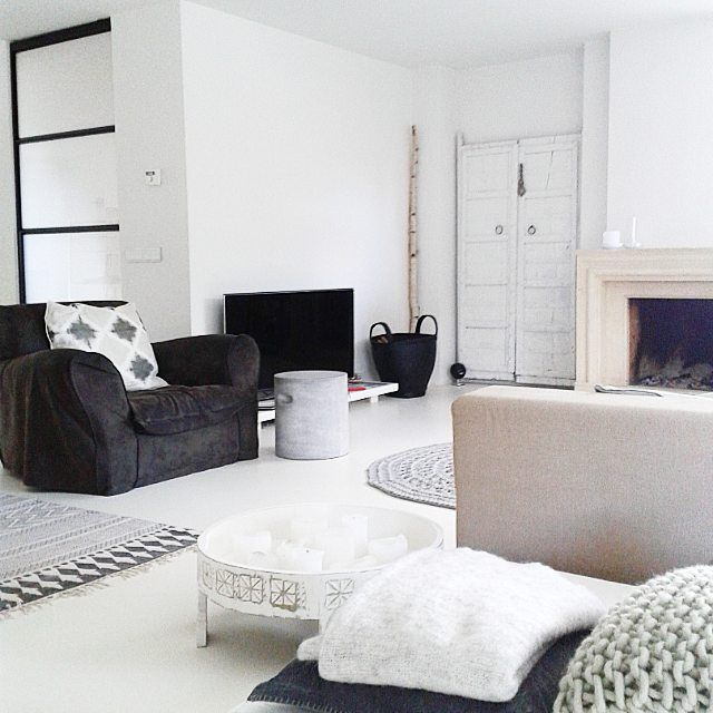 ☆black. White. Zwart. Wit. Woonkamer. Living. Bright. Interior ...
