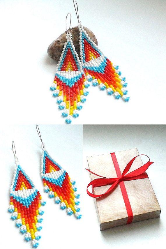 White Dangle Seed Bead Earrings-Beaded Earrings American by Galiga