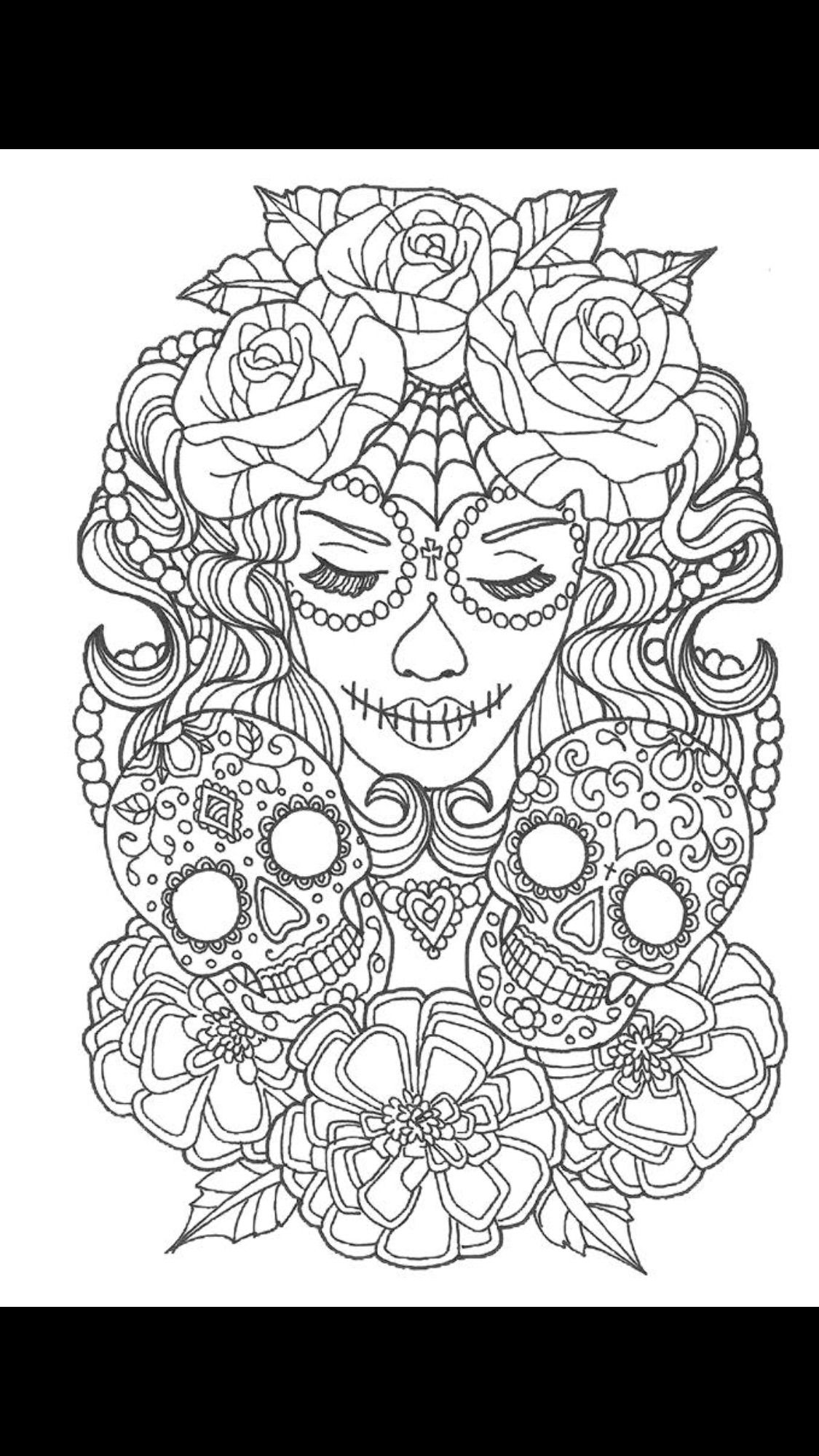 Skull Coloring Pages By Chelsea On Tattoos Piercings Free
